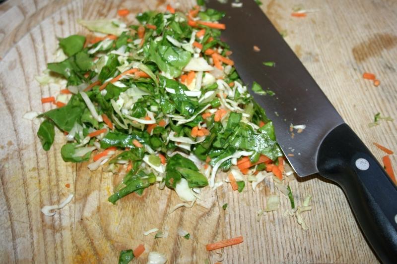 02. Verduras picadas para el tronco de huevo y pavo en blog de recetas fitness