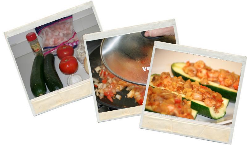 Recetas fitnesss de calabacines rellenos de gambas y verduras